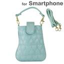 스마트폰 파우치 SMAPO 가방 가게가 만든 2WAY スマホポーチ (하트 누비이 불/블루) (대응)