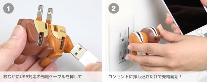 おなかにUSB対応の充電ケーブルを挿してコンセントに挿し込むだけで充電開始!