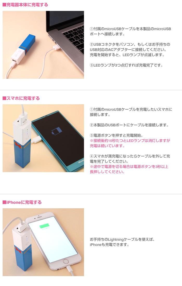 充電器本体に充電する方法、スマホに充電する方法、iPhoneに充電する方法