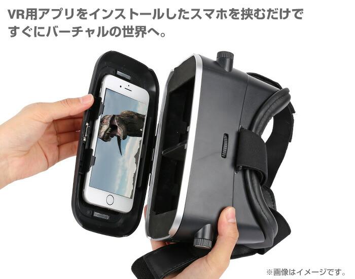 VR用アプリをインストールしたスマホを挟むだけ。