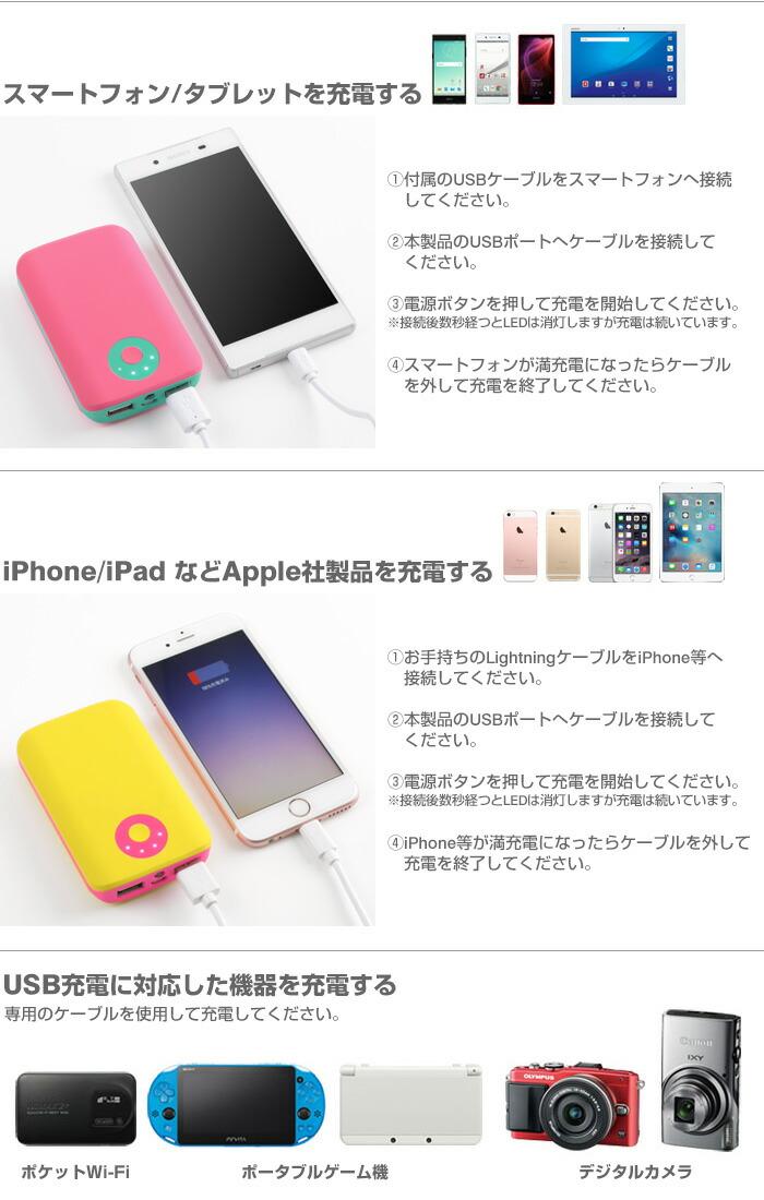 POP'nChargeでスマホやiPhoneを充  電する。