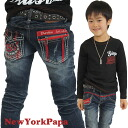 Korea kids clothing bargain products NEW YORK PAPA Pocket Chuck Redline skinny denim 4200 yen (tax incl.) or more purchase at (cash out) 100 cm 110 cm