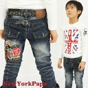 Marathon Korea kids clothing bargain products NEW YORK PAPA back patch slim denim pants 4200 yen (tax incl.) or more purchased (cash out) s fashionable キッズミオ? t 100 cm 110 cm 120 cm 130 cm at