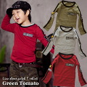 Korea kids clothing bargain products GREEN TOMATO ( green tomato ) sleeves line emblem T shirt 4200 yen (tax included) more than you buy in (cash out) 90 cm 100 cm 110 cm 120 cm 130 cm 140 cm 150 cm