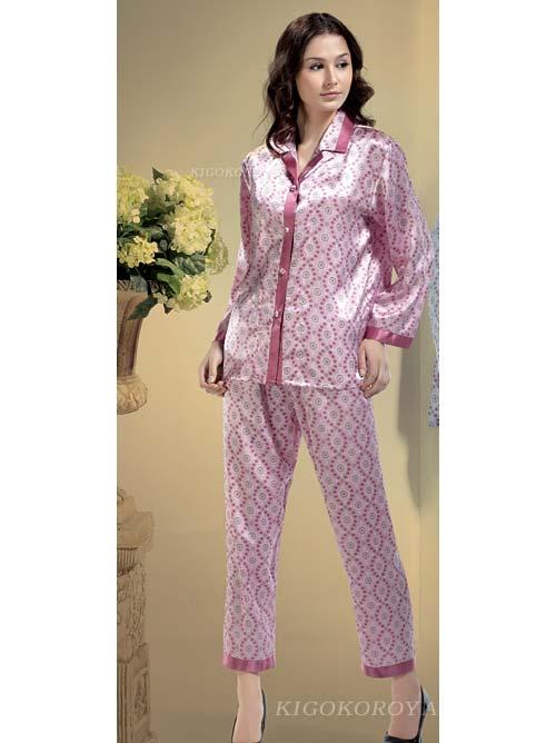 Kigokoroya   Rakuten Global Market: Long-sleeved silk pajamas pink ...