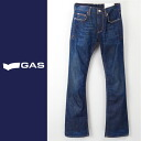 ■GAS men ■ ユーズド processing orange stitch bootcut jeans denim underwear gas-m-p-38-615