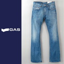 ■GAS men ■ ユーズド processing orange stitch bootcut jeans denim underwear gas-m-p-38-616