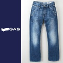 ■GAS men ■ hemp blend damage processing straight jeans denim underwear gas-m-p-38-617