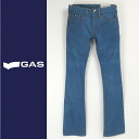 ■GAS men ■ logo patch wrinkle processing straight jeans denim underwear gas-m-p-38-622