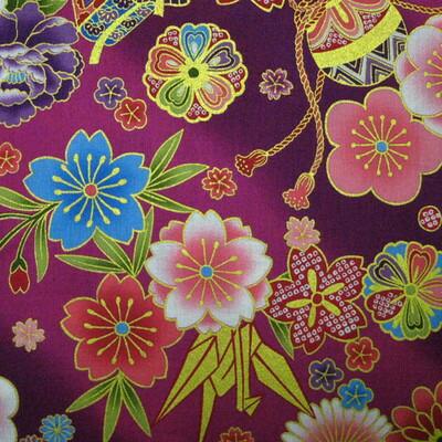 日式花纹和服风花故事紫色