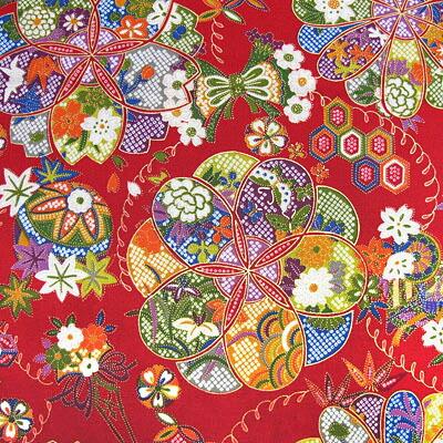 华流行古典红像和睦柄布料日式花纹和服