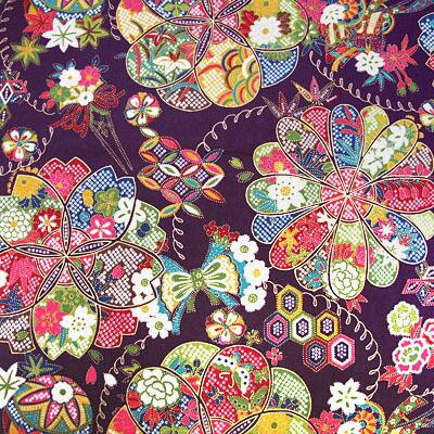 华流行古典紫像和睦柄布料日式花纹和服