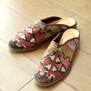 Slippers old kilims and leather (leather)-women's 37(23.5cm)