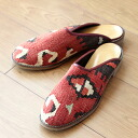 オールドキリム and slippers Lady's 37 (23.5cm) of the leather (leather)