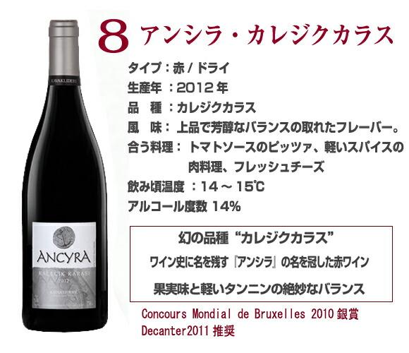 アンシラ-カレジクカラス果実味と軽いタンニンのバランスがとれたトルコワイン。