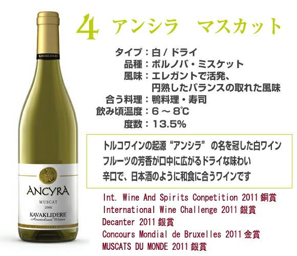アンシラ-マスカット日本酒のように飲める辛口なドライワイン。魚料理だけでなく寿司などの和食にも合います