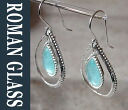 Pierced earrings gsr345 of the The Roman Glass Company long novel glass Company ancient glass and silver