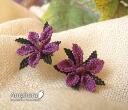 Delicate race silk motifs in eine Oya embroidery needle making earrings and purple (catch type)