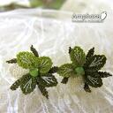 In eine Oya embroidery needles make a delicate lace pierced earring (catch type ) / pistachio green florets
