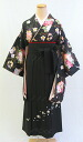 "Small furisode and hakama set ' black with cute flower kuga Pearl ball ""-memorable graduation ceremony-"
