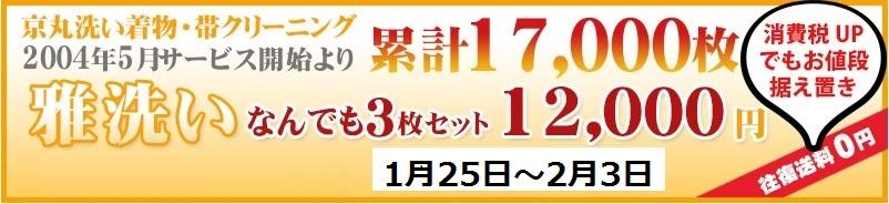 送料無料!京丸洗い着物クリーニング丸洗いの雅洗いがなんでも3枚セットで12000円!
