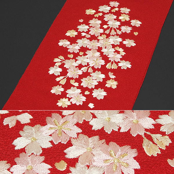 """刺绣半领子""""红色樱花""""日本制造 r>半领子长袖和服半领子"""