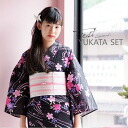 "It is the ""cherry tree yukata full set dressing accessory セットプレタ yukata set which was available as for the cotton yukata strapwork (lah) (D-19) to black running water"" ten points of sets to keep a yukata set for women in various ways"