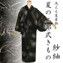 Even when two-part washable washable SAE tsumugi bipartite expression clothes one size fits all 'black yarn Chrysanthemum kimono fs3gm