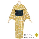 "SOU, SOU woman yukata one piece of article ""flower Ichimatsu doll yellow gold foil"" newly made yukata brand yukata (4S-7) <H>"