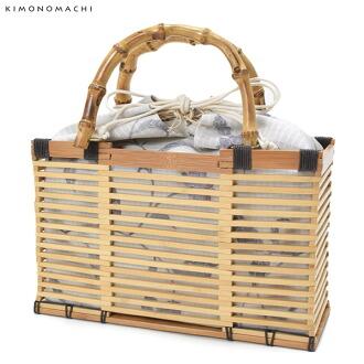 竹編織包[淡灰色,更紗] 夏日和服,浴衣搭配用巾著袋包