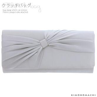 手拿包,和洋兼用[灰色,蝴蝶結]結婚典禮,式典,派對,3用包
