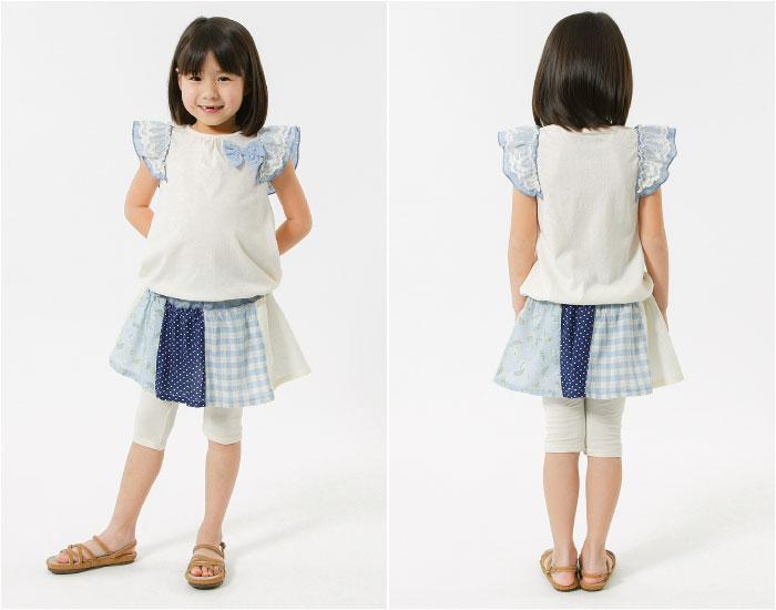 キムラタンの子供服 半袖Tシャツ リボン レース スカート付スパッツ チェック 花柄
