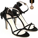 Natural leather used «big and small is size ( 22 cm-26 cm )» doesn't hurt / strap / / party / high heels / black / ☆ リボンモチーフス strap sandals