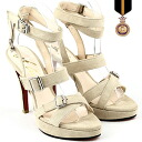 Belt motif / buckle / high-heeled shoes / Shin pull / beige / ☆ cross belt suede cloth sandals