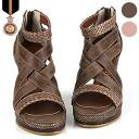 2015 spring summer new ☆ wedge sole / / high heels / zipper / leather / ☆ designcasulwedgesole Sandals Gladiator