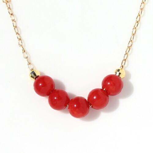 赤珊瑚×カラーゴールドネックレス レディース ペンダント
