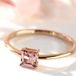 桜色シャンパンガーネットのK18リング(指輪)