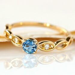 サンタマリアアクアマリンとダイヤモンドのK18リング(指輪)