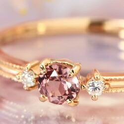 桜色シャンパンガーネットとダイヤモンドのK18リング