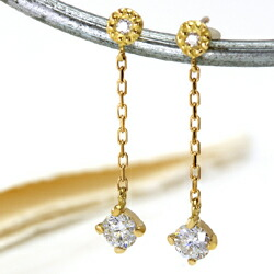 18Kダイヤモンドの揺れるロングピアス
