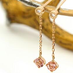 18Kインペリアルトパーズとダイヤモンドの揺れるロングピアス