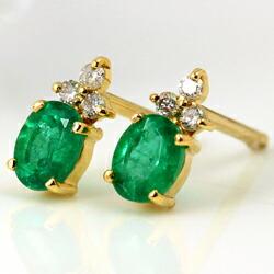 エメラルドとダイヤモンドのK18ピアス