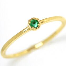 エメラルドのK18華奢リング(指輪)
