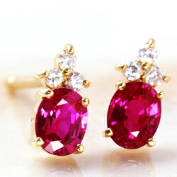 ルビーとダイヤモンドのK18ピアス