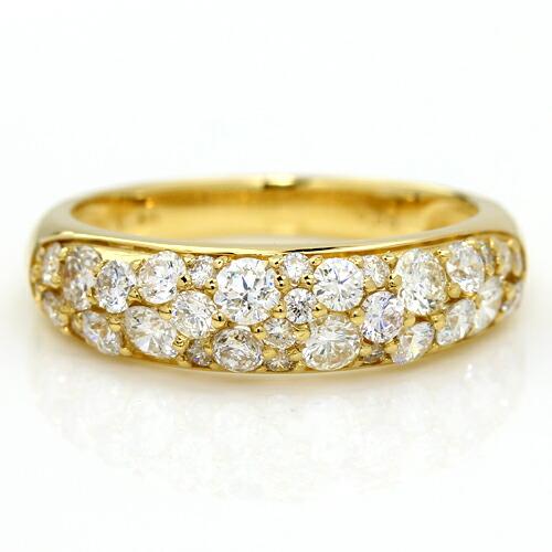 SIクラス以上0.85ctダイヤモンド18金パヴェリング「ルミエールブーケ」