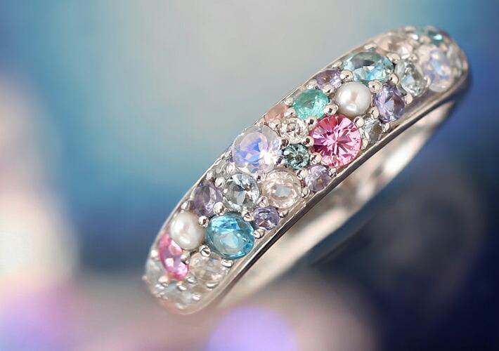 全12種マルチカラージュエル18金パヴェリング「スノー・ルナブーケ」に使用している宝石