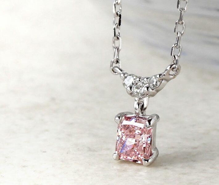 アーガイル産天然ピンクダイヤモンドの18金ネックレス