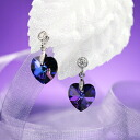 Fantastic brightness…☆ Swarovski crystal pierced earrings heart / heliotrope