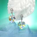 Fantastic brightness…☆ Swarovski crystal pierced earrings heart / aurora