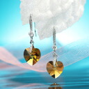Fantastic brightness…☆ Swarovski crystal pierced earrings swing heart / topaz